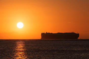 car carrier ship leaving hawaii