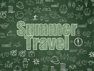 Vacation concept: Chalk Green text Summer Travel on School board background with  Hand Drawn Vacation Icons, School Board