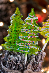 Christmas tree lollypop with sprinkles