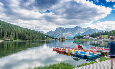 Lake of Misurina. Long time exposure with reflections - Dolomites