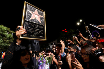 Quintanilla greets fans after unveiling the star of her sister late singer Selena Quintanilla-Perez on the Hollywood Walk of Fame in Los Angeles