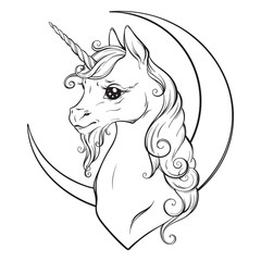 Little unicorn and crescent moon isolated vector illustration. Coloring book pages for adults and kids