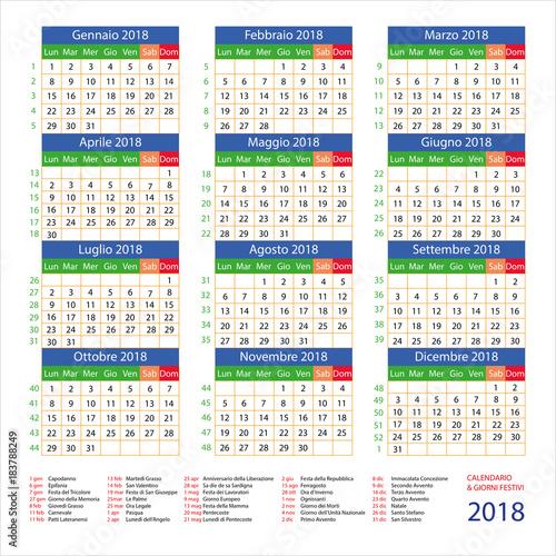 Calendario Con Giorni Festivi.Calendario Italiano Con Giorni Festivi Per Il 2018 Stock
