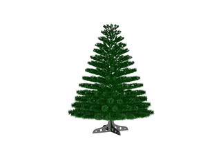 A 3d rendering of a bare undecorated Christmas tree on base over white, ready to be decorated.