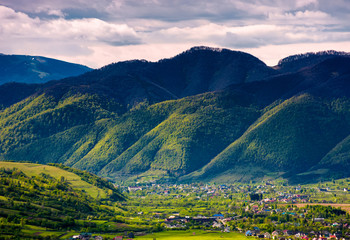 valley of Synevyr and Nehrovets villages. beautiful rural landscape of Carpathian mountains