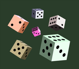Dice Colour on green background Vector illustration for the casino