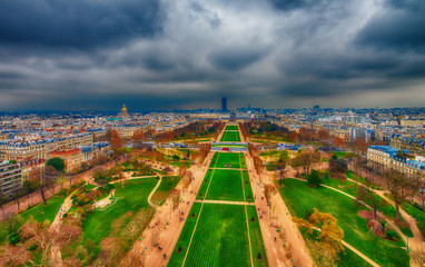 Wall Mural - Champs de Mars and city skyline - Aerial view of Paris
