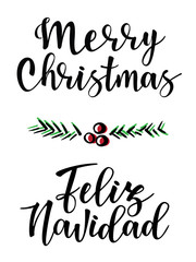 "Vector illustration of ""Merry Christmas'' and ""Feliz Navidad"" lettering."