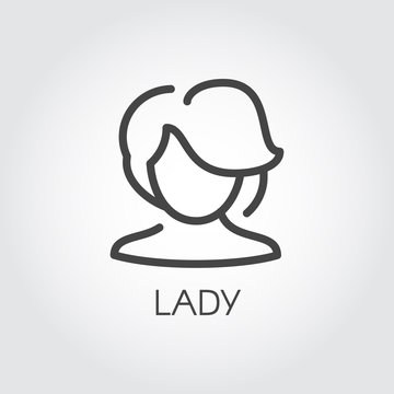 Abstract portrait of an adult lady linear icon. Silhouette of middle-aged woman with model haircut contour sticker. Cosmetology, female avatar concept