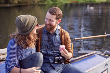 Couple on canal boat