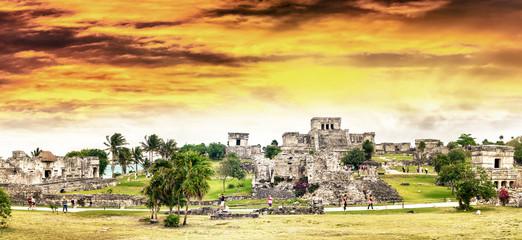 Sunset sky over Tulum Mayan Ruins - Mexico