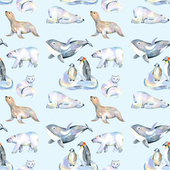 Watercolor cute polar animals illustrations seamless pattern, hand drawn isolated on a blue background