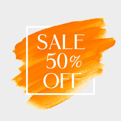 Sale 50% off sign over art brush acrylic stroke paint abstract texture background vector illustration. Perfect watercolor design for a shop and sale banners.