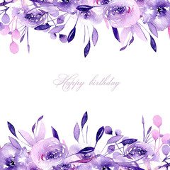 Floral design card with watercolor purple roses and herbs, hand drawn on a white background, for wedding, birthday and other greeting cards
