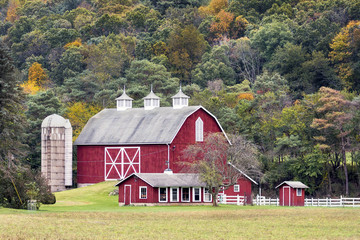 Wall Murals Khaki Large Red Barn and Hillside