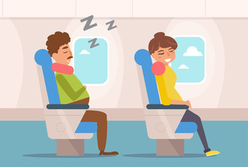 People are sleeping on the plane.