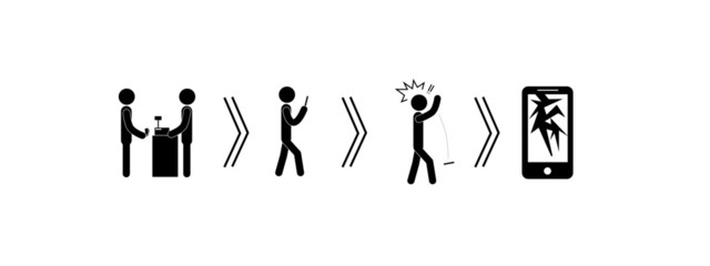 stick figure vector  consumer circle of phones