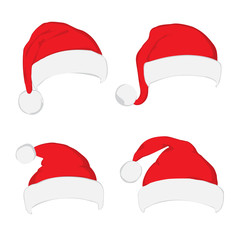 Santa hat set on white background. Vector Santa red hat. Flat vector illustration Santa hat. Red Santa hat isolated on white.