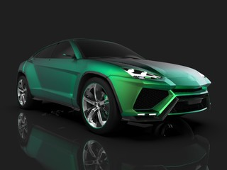 The newest sports all-wheel drive green premium crossover in a black studio with a reflective floor. 3d rendering.