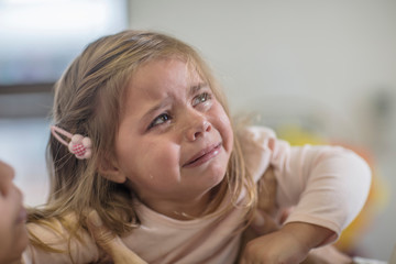 Young girl, crying, close-up