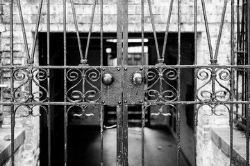Wrought Iron Gate in Black and White