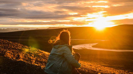 Watching a dramatic sunset deep inside the Iceland highlands