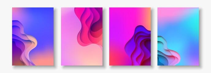 Fototapeta A4 abstract color 3d paper art illustration set. Contrast colors. Vector design layout for banners, presentations, flyer obraz