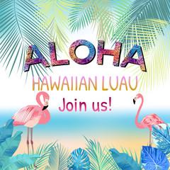 Aloha, Hawaiian Party Template Invitation