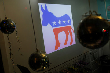 A Democratic Party donkey icon is seen in a candy shop near the watch party for New Jersey gubernatorial candidate Phil Murphy in Asbury Park, New Jersey