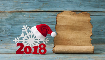 Happy new year 2018 on wooden table