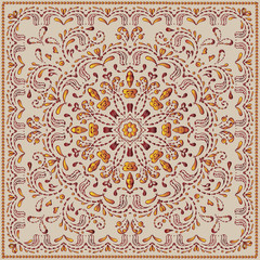 Ethnic pattern or bandana print in indian style. Indian floral paisley medallion pattern. Ethnic Mandala ornament. Can be used for textile, greeting card.