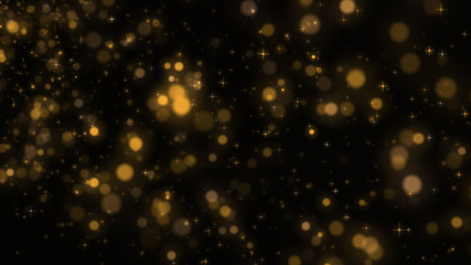 Bright shining christmas stars and particles 3d illustration