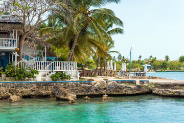 The embankment of the city of Bayahibe, La Altagracia, Dominican Republic. Copy space for text.