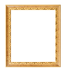 vertical carved golden wooden picture frame