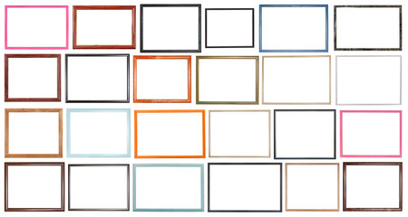 modern narrow wooden picture frames isolated