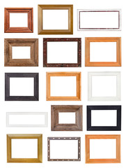 set of little wide wooden picture frames isolated