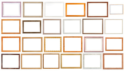 set of various wooden picture frames isolated