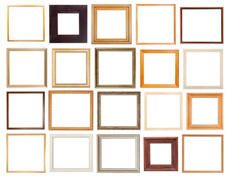 set of square wooden picture frames isolated