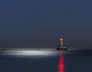 Lonely lighthouse sitting on lake