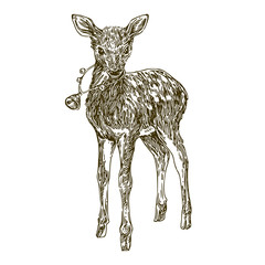 Cute fawn with a Christmas bell around his neck. Engraving style. Vector illustrations.