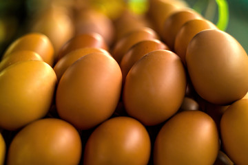 Big stack of eggs on a market stand