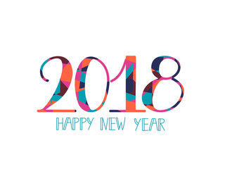 2018 Happy New Year bright background. element for presentations, flyers, leaflets, postcards and posters. Trend in design. Vector illustration EPS10