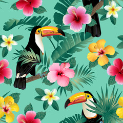 Tropical birds and palm leaves seamless background. Vector.