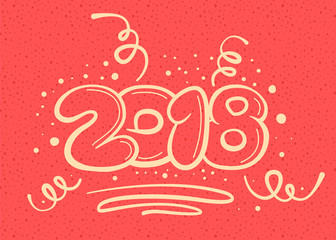 Postacard concept with new year digits on red noisy background. Vector illustration.