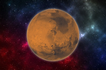 Planet Mars in space. Elements of this image furnished by NASA