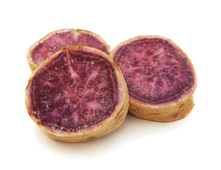 Purple Sweet Potatoes on White background