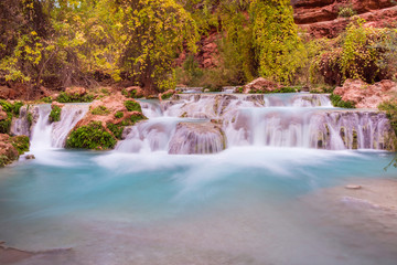Beaver Falls Waterfall with bright blue water