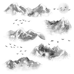 Watercolor Mountains , Flying Birds and Moon
