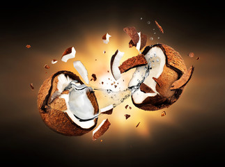 Coconut explodes into pieces in the dark