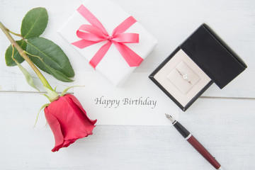 birthday image  with rose and diamond ring